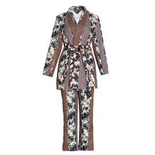 Load image into Gallery viewer, Silky Satin Multi Print Robe and Pants Two Piece Set - BEYAZURA.COM