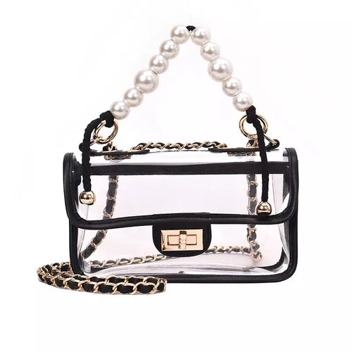 Clear Flap Handbag With Pearl Straps - BEYAZURA.COM