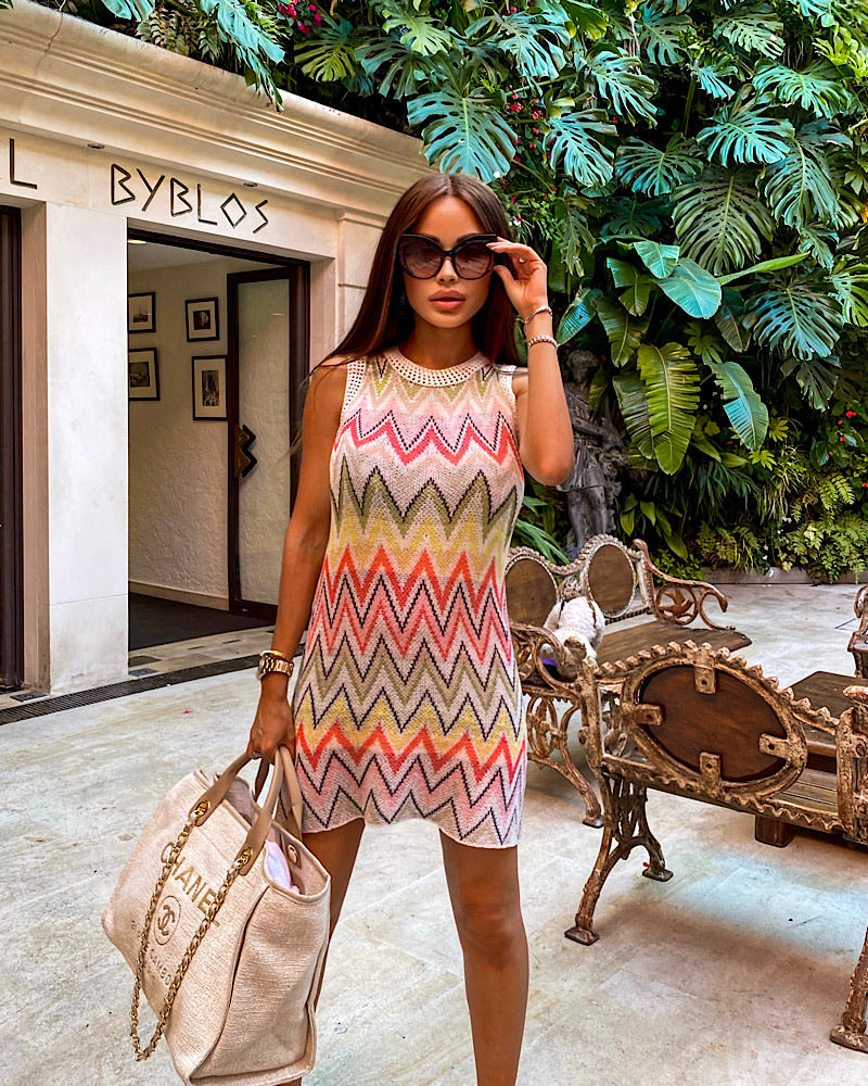 Zig Zag Lace Knit Crochet Summer Dress - BEYAZURA.COM