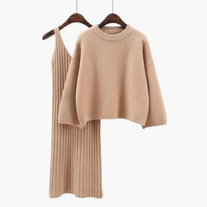 Cashmere Soft Ribbed Knit Dress And Long Sleeve Sweater Cashmere Two Piece Set - BEYAZURA.COM