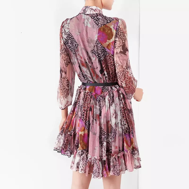 Romantic Floral Pleated Ruffle Shirt Dress - BEYAZURA.COM