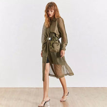Load image into Gallery viewer, Mesh Trench Coat With Waist Belt - Beyazura.com