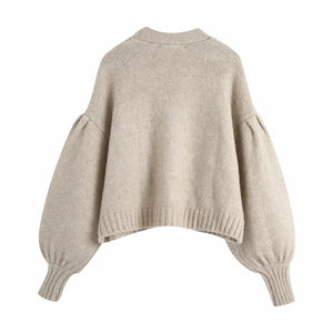 Beige Cozy Loose Sleeve Sweater With Rhinestone Buttons - Beyazura.com