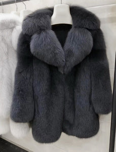 Lux Thick Fox Fur Coat - BEYAZURA.COM