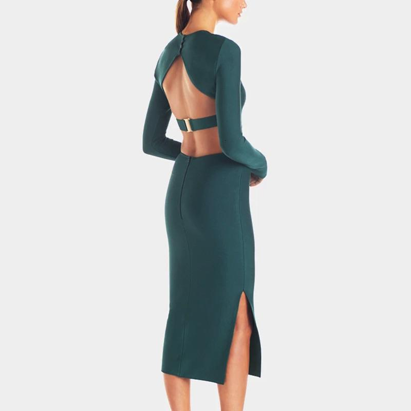 High Slit Backless Midi Bodycon Dress - BEYAZURA.COM