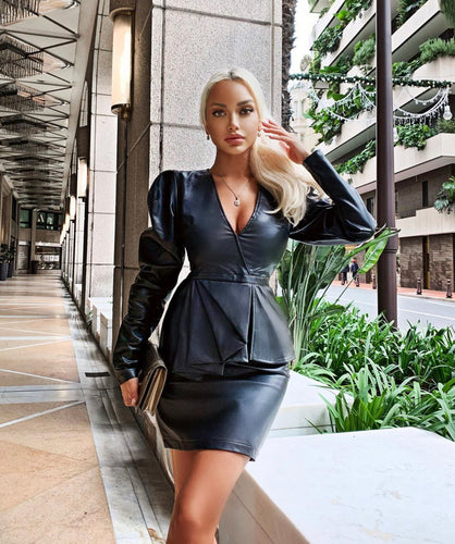 Pu Leather Black Dress - BEYAZURA.COM