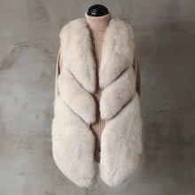 Load image into Gallery viewer, Three Asymmetrical Panel Genuine Fox Fur Gilet - BEYAZURA.COM