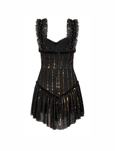 Black Ruched Ruffle Sequin Striped Short Dress