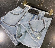 Load image into Gallery viewer, Mini Denim Shorts With Metal Studs In Blue - BEYAZURA.COM