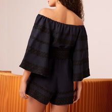 Load image into Gallery viewer, Flowy And Flared Belted Playsuit In Black and Navy - BEYAZURA.COM