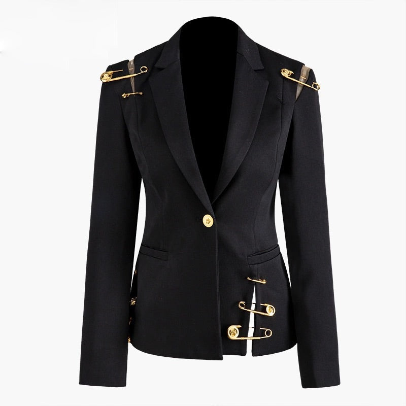 BLACK BLAZER WITH GOLDEN SAFETY PIN TRIMS