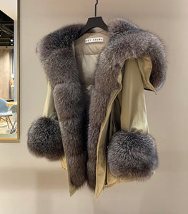 Luxurious Oversized Fox Fur Hooded Duck Down Parka - BEYAZURA.COM