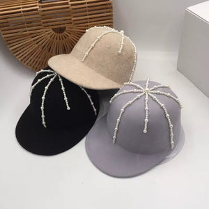Wool Pearl Fashion Baseball Cap - BEYAZURA.COM