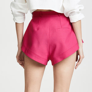 Pink High Waist Flared Shorts - BEYAZURA.COM