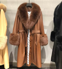 Load image into Gallery viewer, Sheep Skin Leather Long Coat With Fox Fur Collar and Sleeves - Beyazura.com