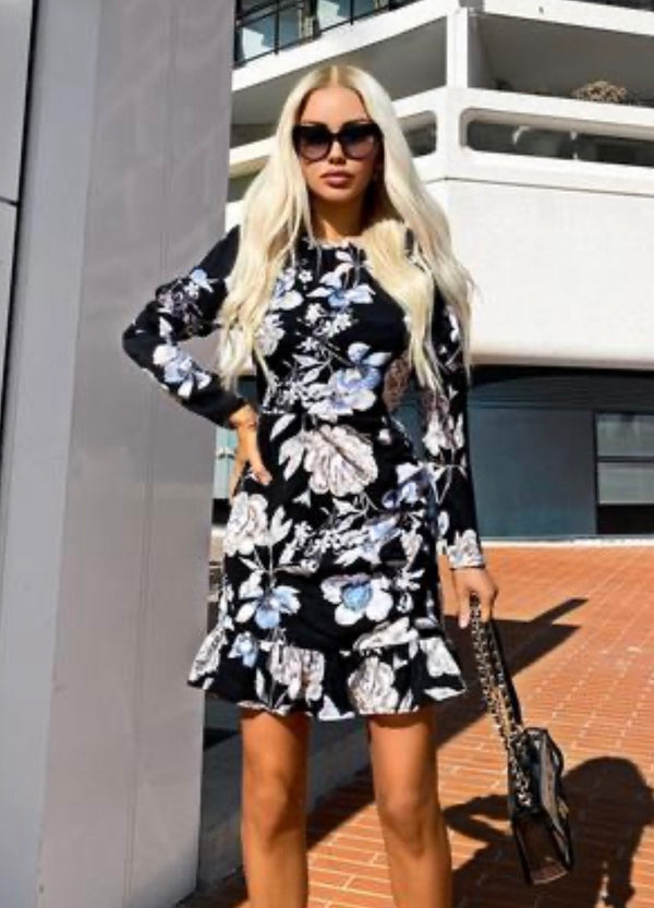 AxParis Black Floral Print Long Puff Sleeve Dress - Beyazura.com