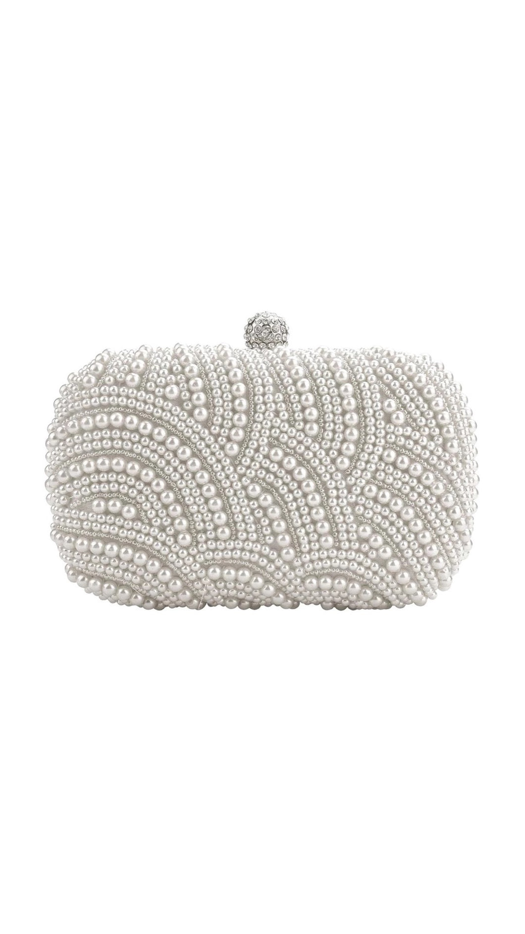 Pearl And Crystal Beaded Rectangular Evening Clutch - Beyazura.com
