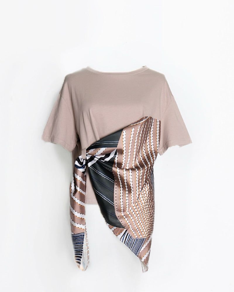 Scoop Neck T-Shirt With Scarf Decor - BEYAZURA.COM