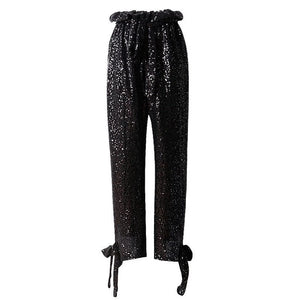 High Wisted Loose Sequined Bow Ankle Pants - Beyazura.com