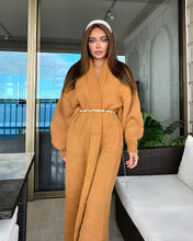 Load image into Gallery viewer, Maxi Mohair Faux Mink Cashmere Oversized Cardigan in Brown - BEYAZURA.COM