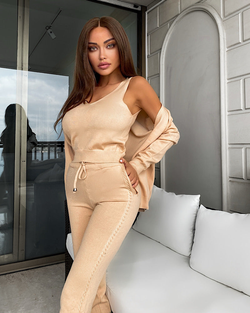 Ribbed Knit Pastel Camisole Cardigan Pants Three Piece Set in Beige - BEYAZURA.COM