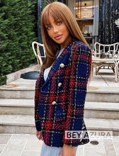 Load image into Gallery viewer, Red And Navy Tweed Blazer - BEYAZURA.COM