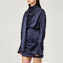 Load image into Gallery viewer, Shawl Collar Flared Bell Sleeve Satin Mini Dress - BEYAZURA.COM