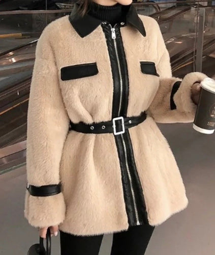 Faux Fur Pu Leather Trimmed Coat - BEYAZURA.COM