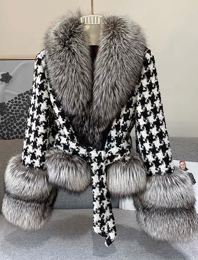 Houndstooth Black Fox Fur Trim Belted Wool Jacket - BEYAZURA.COM