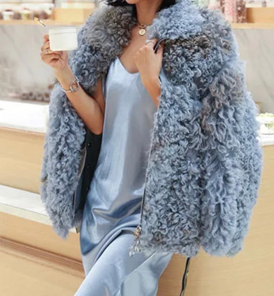 Genuine Studded Sheepskin Leather Dyed Sheep Fur Coat - BEYAZURA.COM