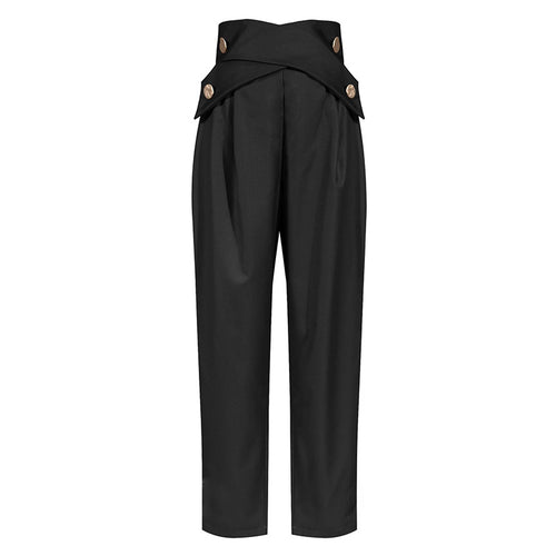 Black High Waisted Ruched Gold Button Pants - BEYAZURA.COM