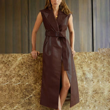 Load image into Gallery viewer, Vegan Leather Long Vest Belted Dress - BEYAZURA.COM