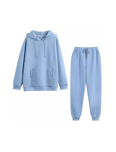 Blue Long Sleeve Top Hoodie and Jogging Pant Coord Set - BEYAZURA.COM