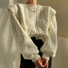 Load image into Gallery viewer, Patterned Scoop Neck Exaggerated Shoulder Sweater - BEYAZURA.COM