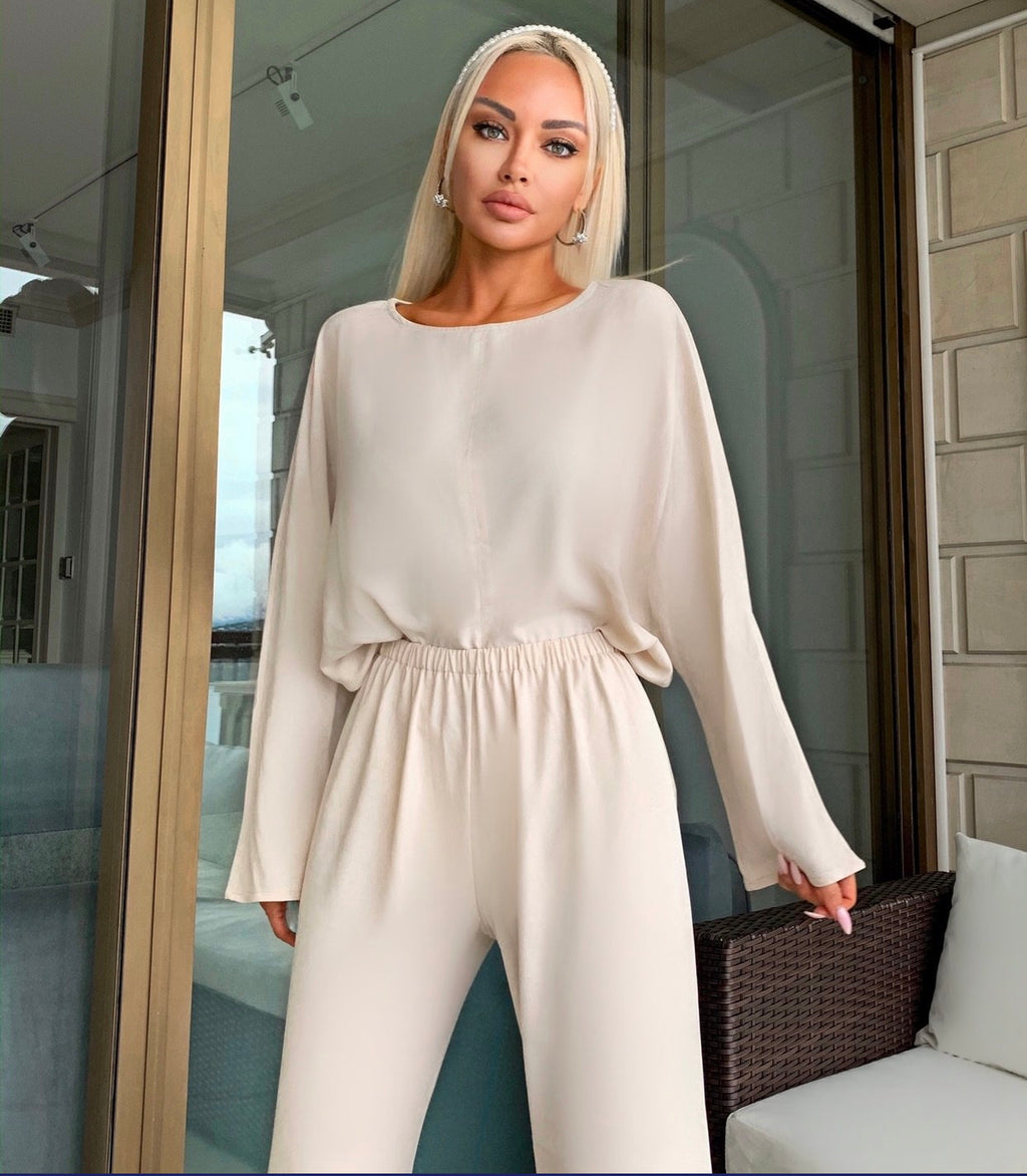 SILKY TOP AND PANTS TWO SET PIECE - BEYAZURA.COM