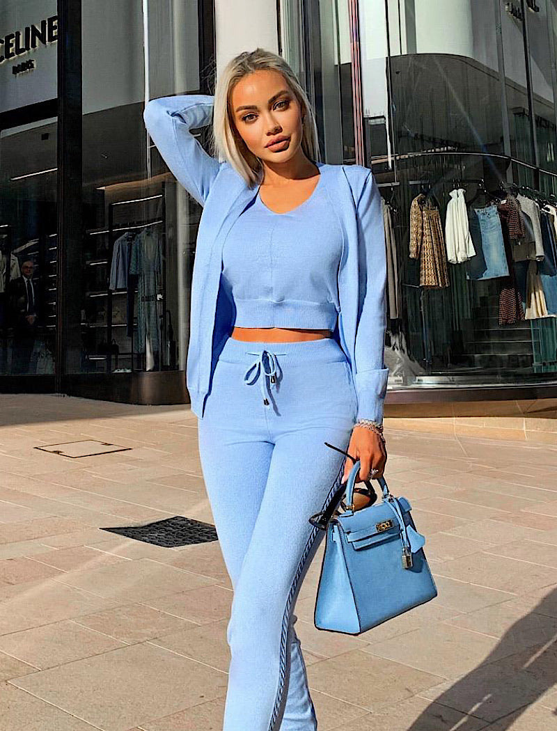 Ribbed Knit Pastel Camisole Cardigan Pants Three Piece Set in Blue - Beyazura.com