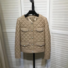 Load image into Gallery viewer, Sheepskin Studded Quilted Leather Jacket - BEYAZURA.COM