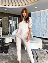 Load image into Gallery viewer, Ivory Knit Long Sleeve Top and Slim Trouser Two Piece Set - Beyazura.com