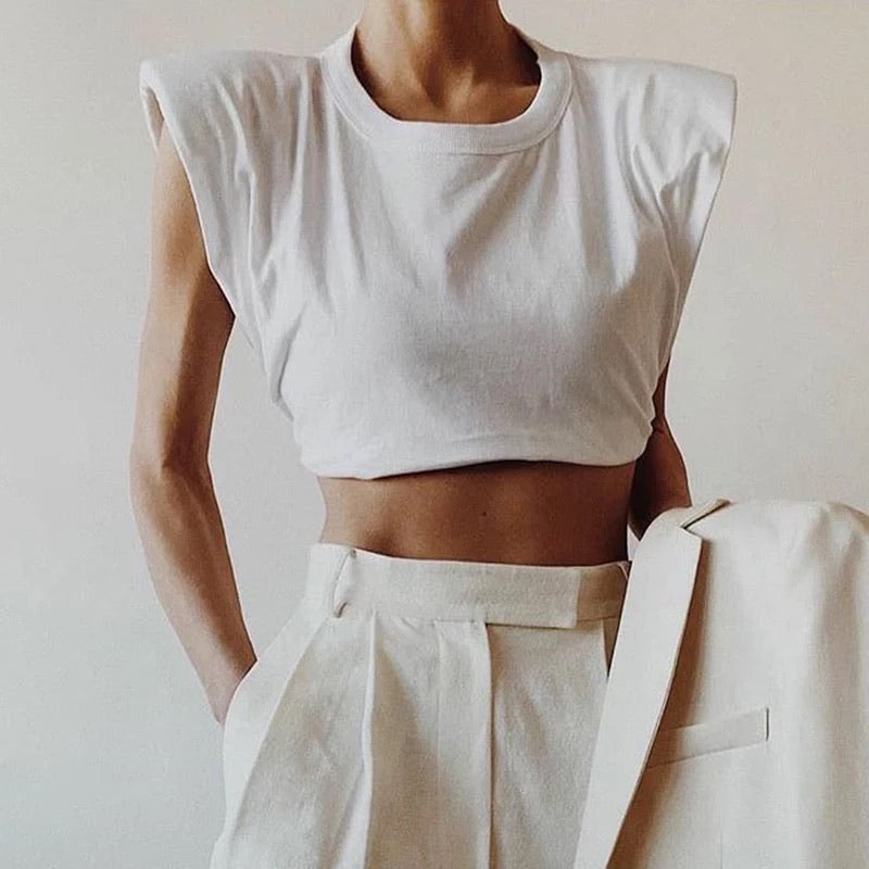 White Cotton Shoulder Pads Crop Tee - Beyazura.com