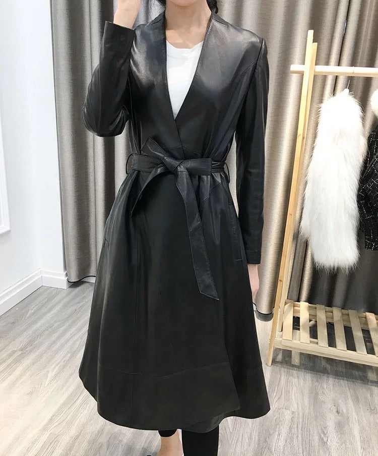 Lambskin Leather Trench Coat With Belt - BEYAZURA.COM