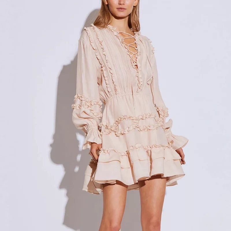 Ruffle Skirt and Ruched Above The Knee Dress in Nude - BEYAZURA.COM