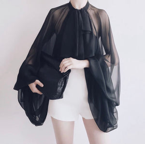 Chiffon Transparent Exaggerated Sleeve Shirt - BEYAZURA.COM