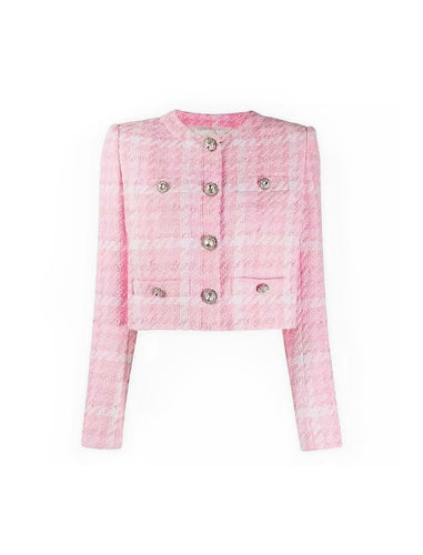 Pink Short Tweed Plaid Diamond Buttoned Jacket - Beyazura.com
