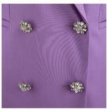 Load image into Gallery viewer, Purple Double Breasted Crystal Button Blazer Dress - BEYAZURA.COM