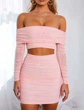 Load image into Gallery viewer, Pink Mesh Bandage Two Piece Set