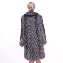 Load image into Gallery viewer, Striped Silver Fox For Coats Plus Size - BEYAZURA.COM