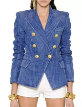 Load image into Gallery viewer, Double Breasted Denim Blazer With Gold Buttons - BEYAZURA.COM