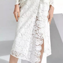 Load image into Gallery viewer, Draped Embroidered Side Slit Lace Dress - Beyazura.com