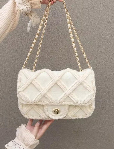 Beige Gold Trimmed Canvas Flap Bag - Beyazura.com