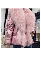 Load image into Gallery viewer, Shiny Metallic Down Parka Puffer Jacket With Sheep Fur Trims - BEYAZURA.COM